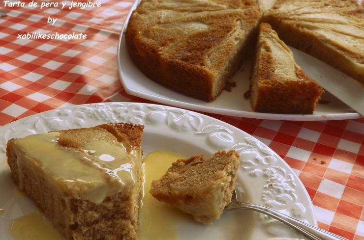 Bizcocho de pera y jengibre, receta jengibre, pastel de pera y jengibre, tarta de fruta, tarta de pera y jengibre, receta pera