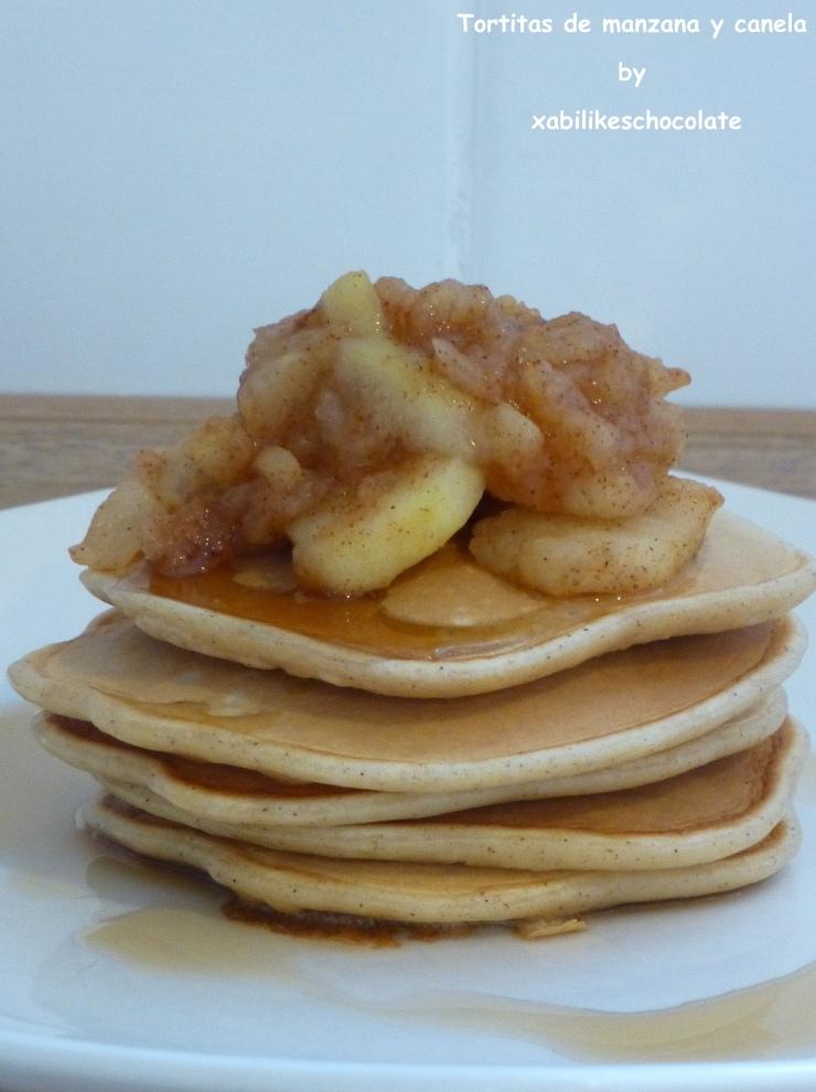 Pancakes de manzana y canela, desayuno sin azúcar manzana y canela, tortitas de manzana y canela, receta tortitas, recetas para niños, blog repostería