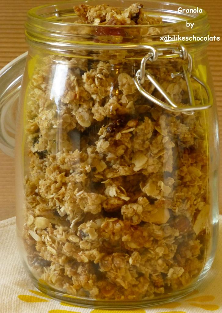 Cereales, granola casera, muesli, copos de avena, muesli crujiente, desayunos sin azúcar, receta granola, blog de repostería