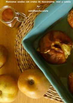 Manzanas asadas con crema de mascarpone