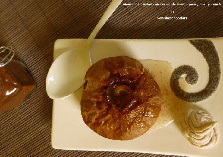 Manzanas asadas con crema de mascarpone miel y canela,manzanas asadas, receta manzana y canela, receta manzana, manzana miel y datiles, recetas sin azucar, receta sin gluten, blog de repostería, crema de mascarpone