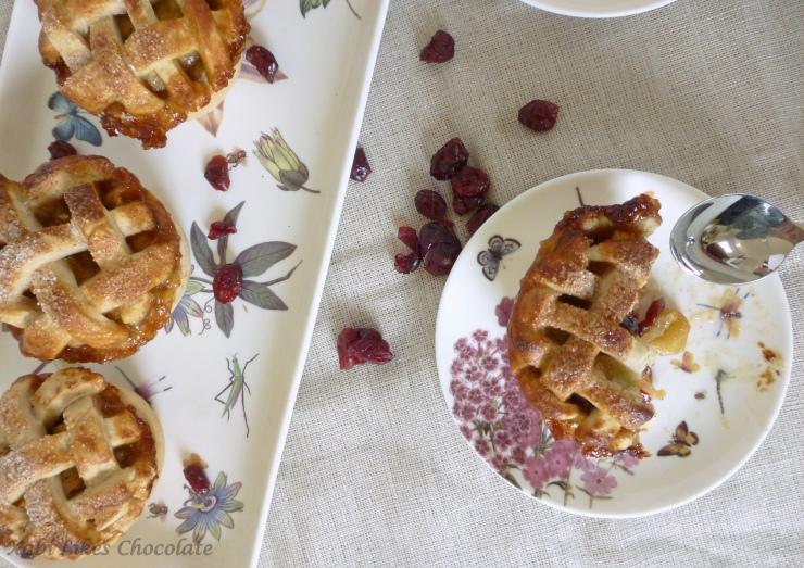 Tarta de manzana americana, american pie, mini pie de manzana y arándanos, tartaletas de manzana americanas, blog de reposteria, postre tipico americano