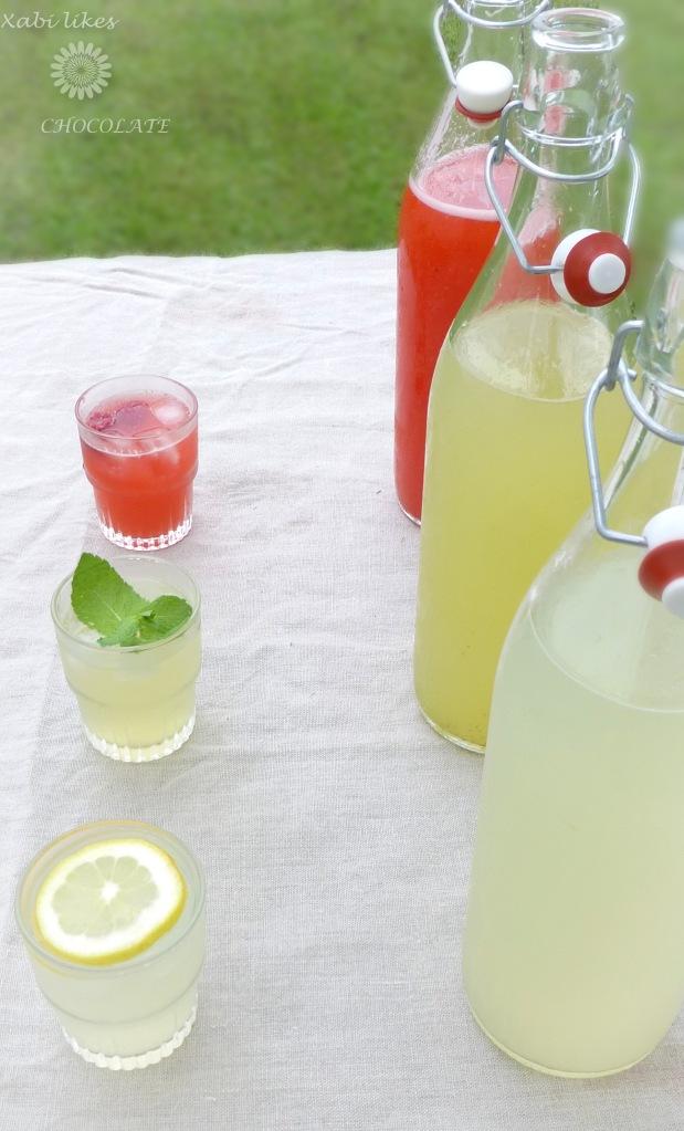 Limonadas variadas, limonada sin azúcar, limonada de jengibre, limonada de lima y menta, limonada de frambuesa, bebidas sin azúcar, receta de limonada