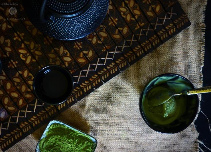 Helado de té verde Matcha, green tea icecream, helado sin heladera, helado de té verde, helado japonés, postre japonés, té verde Matcha