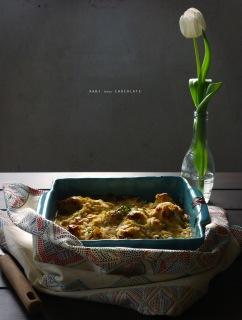 Coliflor gratinada con queso azul y almendras