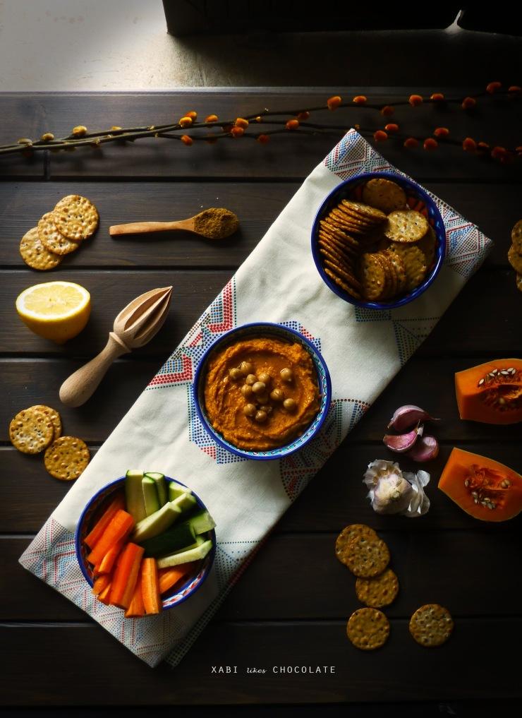 Hummus de calabaza, hummus, calabaza, boniato, dip de calabaza, mantequilla de cacahuete, receta, estilismo culinario